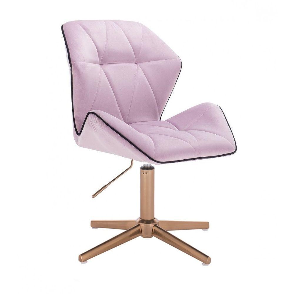 Kosmetická židle MILANO MAX VELUR na zlatém kříži - fialový vřes