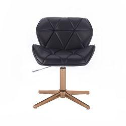 Kosmetická židle MILANO na zlatém kříží - černá
