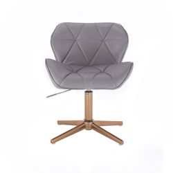 Kosmetická židle MILANO na zlatém kříží - šedá