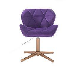 Kosmetická židle MILANO VELUR na zlatém kříži - fialová