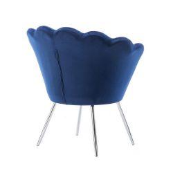 Kosmetické křeslo FREY VELUR se stříbrnými nohami - modré