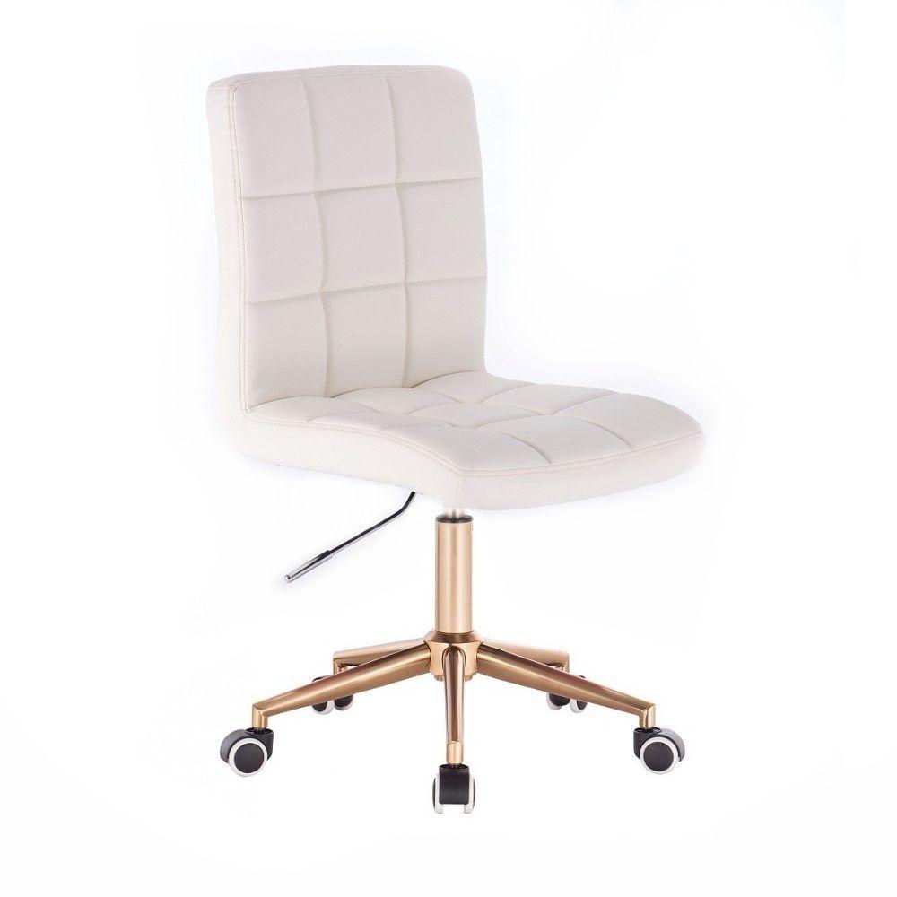 Kosmetická židle TOLEDO na zlaté podstavě s kolečky - bílá