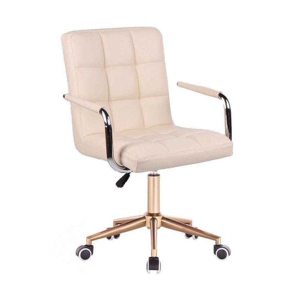 Kosmetická židle VERONA na zlaté podstavě s kolečky - krémová