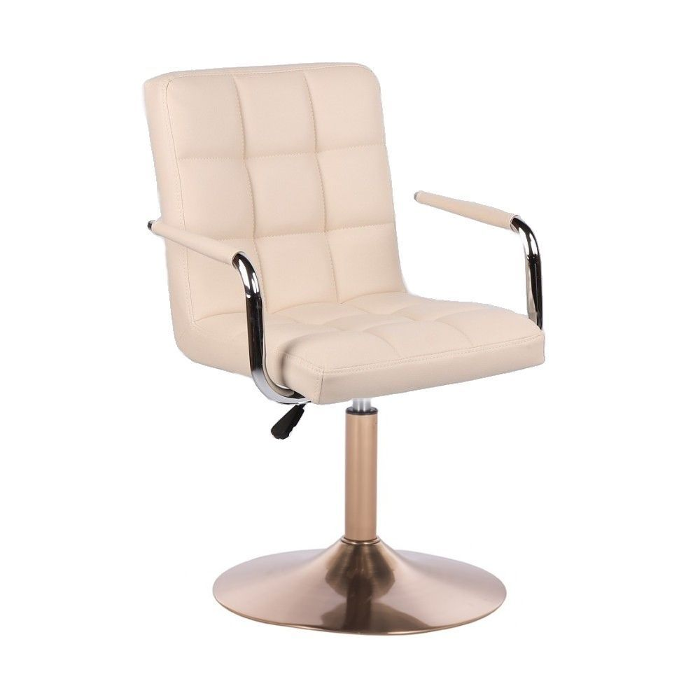 Kosmetická židle VERONA na zlatém talíři - krémová