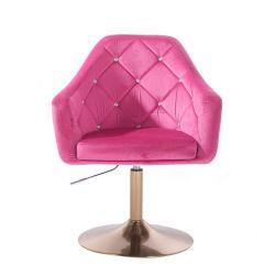 Kosmetické křeslo ROMA VELUR na zlatém talíři - růžové