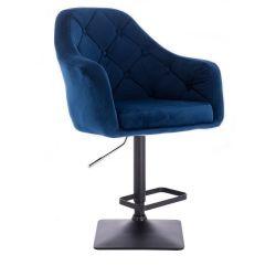 Barová židle ANDORA VELUR  na černé podstavě - modrá