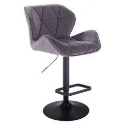 Barová židle MILANO VELUR na černé kulaté podstavě - tmavě šedá