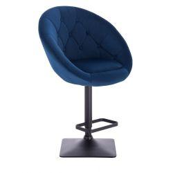 Barová židle VERA VELUR na černé podstavě - modrá