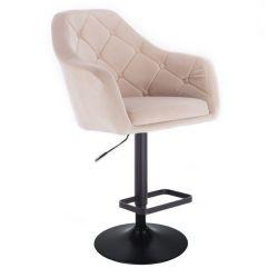 Barová židle ANDORA VELUR  na černém talíři - krémová