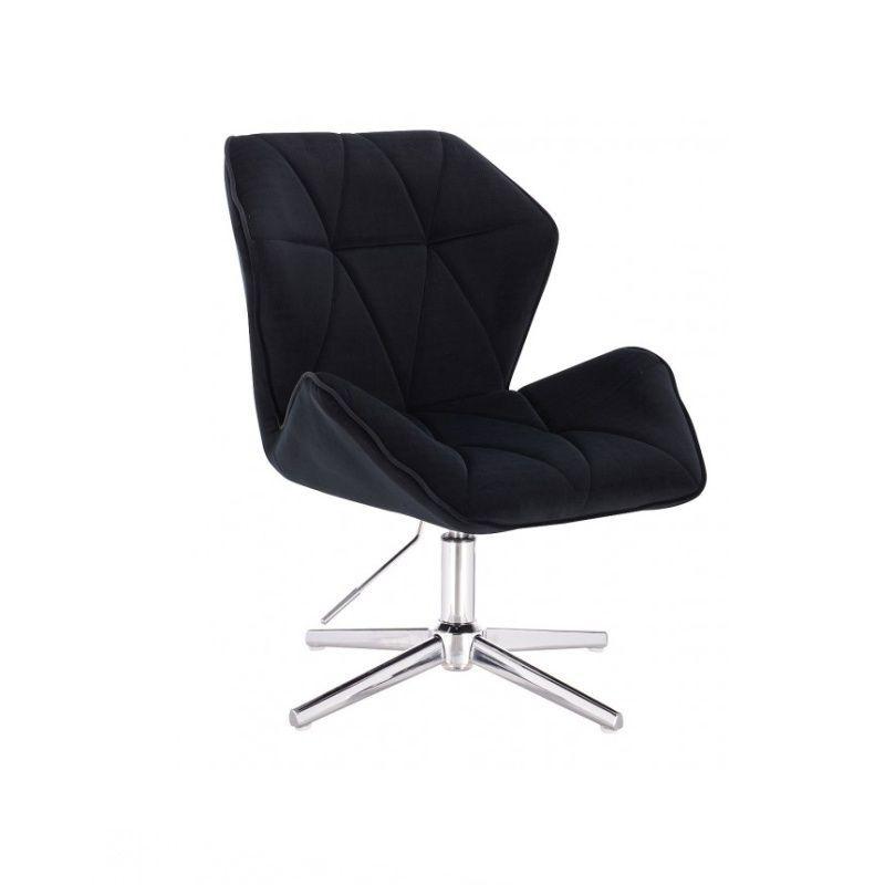 Kosmetická židle MILANO MAX VELUR na stříbrném kříži - černá