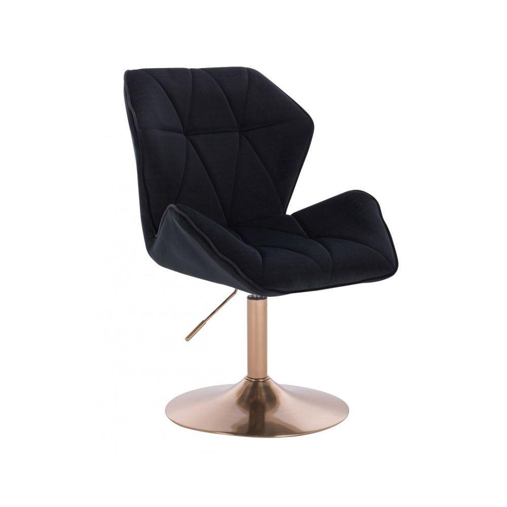 Kosmetická židle MILANO MAX VELUR na zlatém talíři - černá