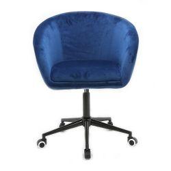 Kosmetická židle VENICE VELUR na černé podstavě s kolečky - modrá