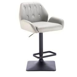 Barová židle LION na černé podstavě - šedá