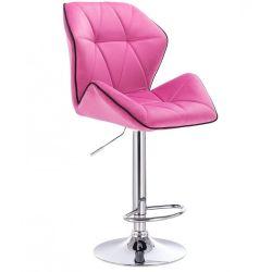 Barová židle MILANO MAX VELUR na stříbrném talíři - růžová