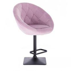 Barová židle VERA VELUR na černé podstavě - fialový vřes