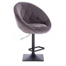 Barová židle VERA VELUR na černé podstavě - šedá