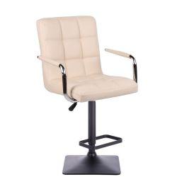 Barová židle VERONA na černé podstavě - krémová