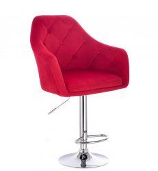 Barová židle ANDORA VELUR  na stříbrném talíři - červená