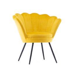Kosmetické křeslo FREY VELUR s černými nohami - žluté