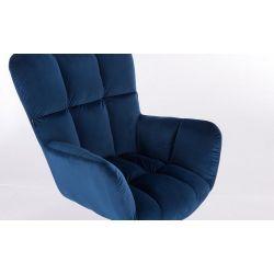 Kosmetické křeslo AURORA VELUR na stříbrné podstavě s kolečky - modré
