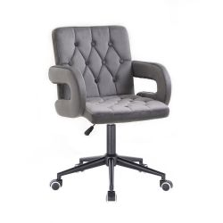 Kosmetická židle BOSTON VELUR na černé podstavě s kolečky - šedá