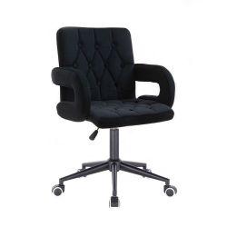 Kosmetická židle BOSTON VELUR na černé podstavě s kolečky - černá