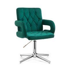 Kosmetická židle BOSTON VELUR na stříbrném kříži - zelená