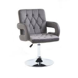 Kosmetická židle BOSTON VELUR na stříbrném talíři - šedá
