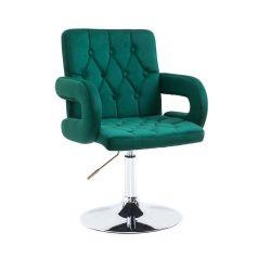 Kosmetická židle BOSTON VELUR na stříbrném talíři - zelená