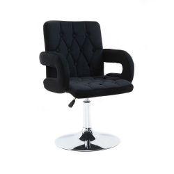 Kosmetická židle BOSTON VELUR na stříbrném talíři - černá