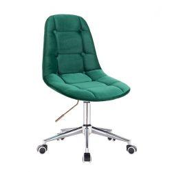 Kosmetická židle SAMSON VELUR na stříbrné podstavě s kolečky - zelená