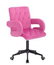 Kosmetická židle BOSTON VELUR na černé podstavě s kolečky - růžová
