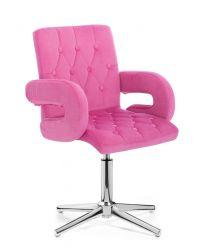 Kosmetická židle BOSTON VELUR na stříbrném kříži - růžová