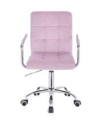 Kosmetická židle VERONA VELUR na stříbrné podstavě s kolečky - fialový vřes