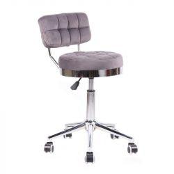 Kosmetická židle VIGO VELUR na stříbrné základně s kolečky - šedá