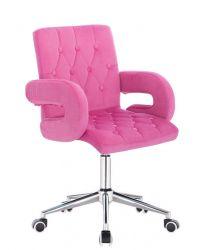 Kosmetická židle BOSTON VELUR na stříbrné základně s kolečky - růžová
