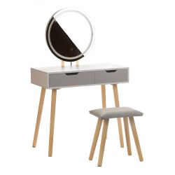 Toaletní stolek bílý ANJA W1 - zrcadlo - 2 zásuvky + taburet