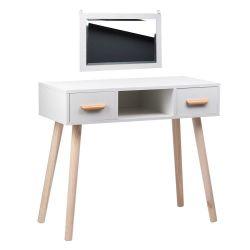 Toaletní stolek bílý ALVA se zrcadlem - 2 zásuvky + taburet