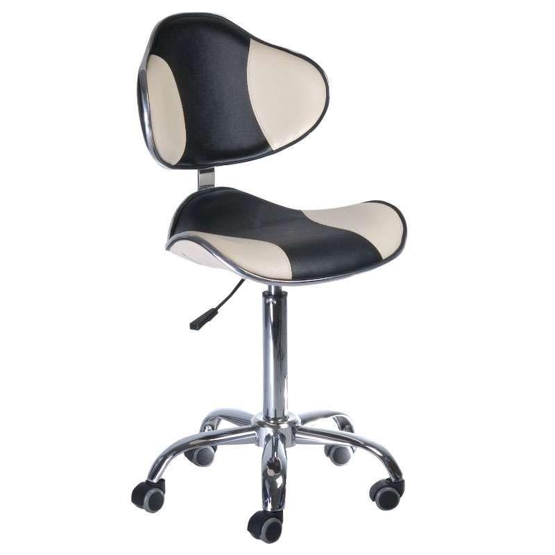 Kosmetická stolička s opěrkou BD-9933 černo-krémová