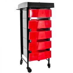 Kadeřnický vozík 008 TIMER černo-červený (AS)