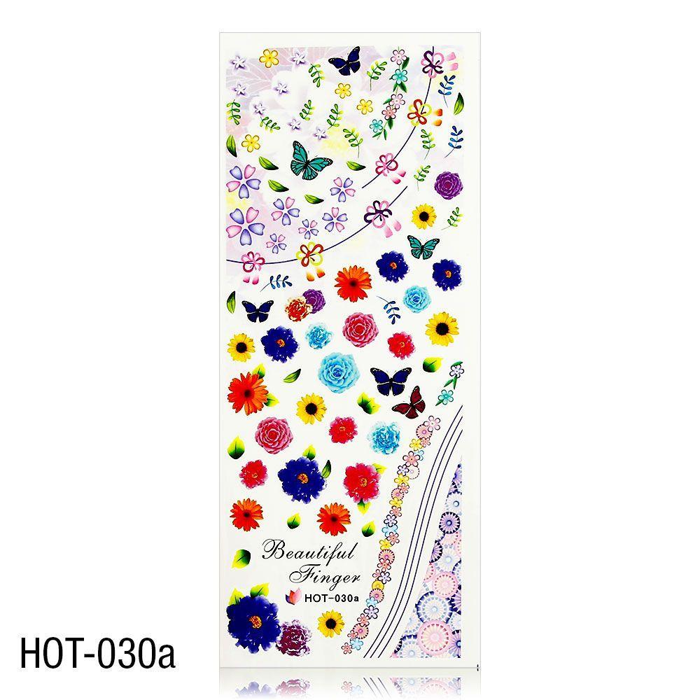 Vodolepky na zdobení nehtů - velký list 12,7 x 5,5cm HOT-030a