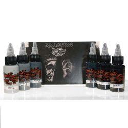 World Famous Ink - A.D. Pancho Pastel Grey Set 6x30ml (K)