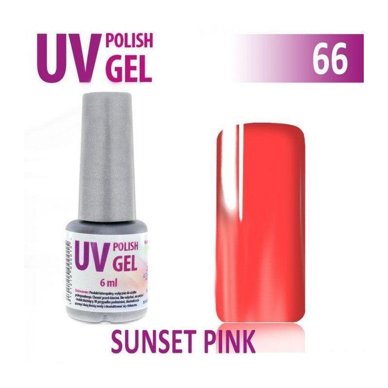 66.UV gel lak na nehty hybridní SUNSET PINK 6 ml
