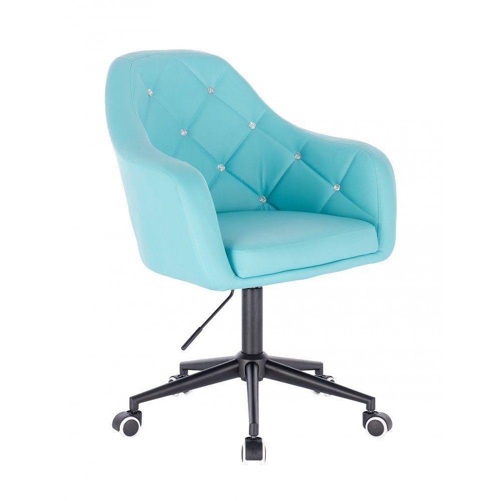 Kosmetická židle ROMA na černé podstavě s kolečky - tyrkysová