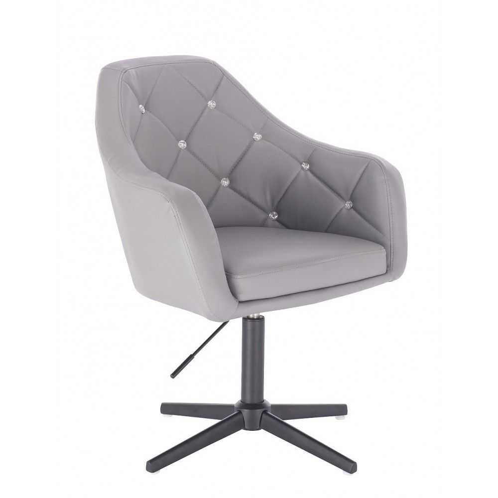 Kosmetická židle ROMA na černém kříži - šedá