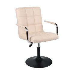 Kosmetická židle VERONA na černém talíři - krémová