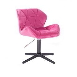 Kosmetická židle MILANO VELUR na černém kříži - růžová