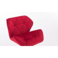 Kosmetická židle MILANO VELUR na stříbrném kříži - červená
