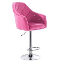 Barová židle ROMA VELUR na kulaté stříbrné podstavě - růžová