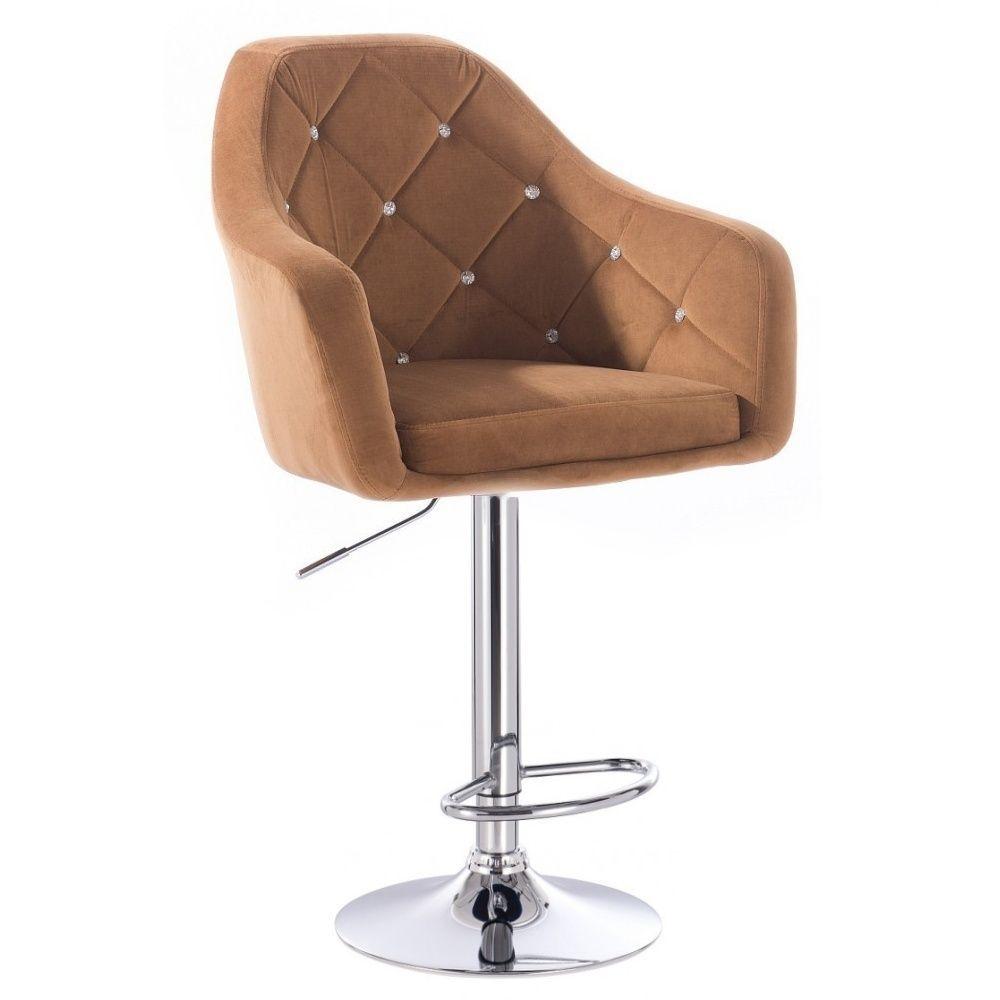 Barová židle ROMA VELUR na kulaté stříbrné podstavě - světle hnědá
